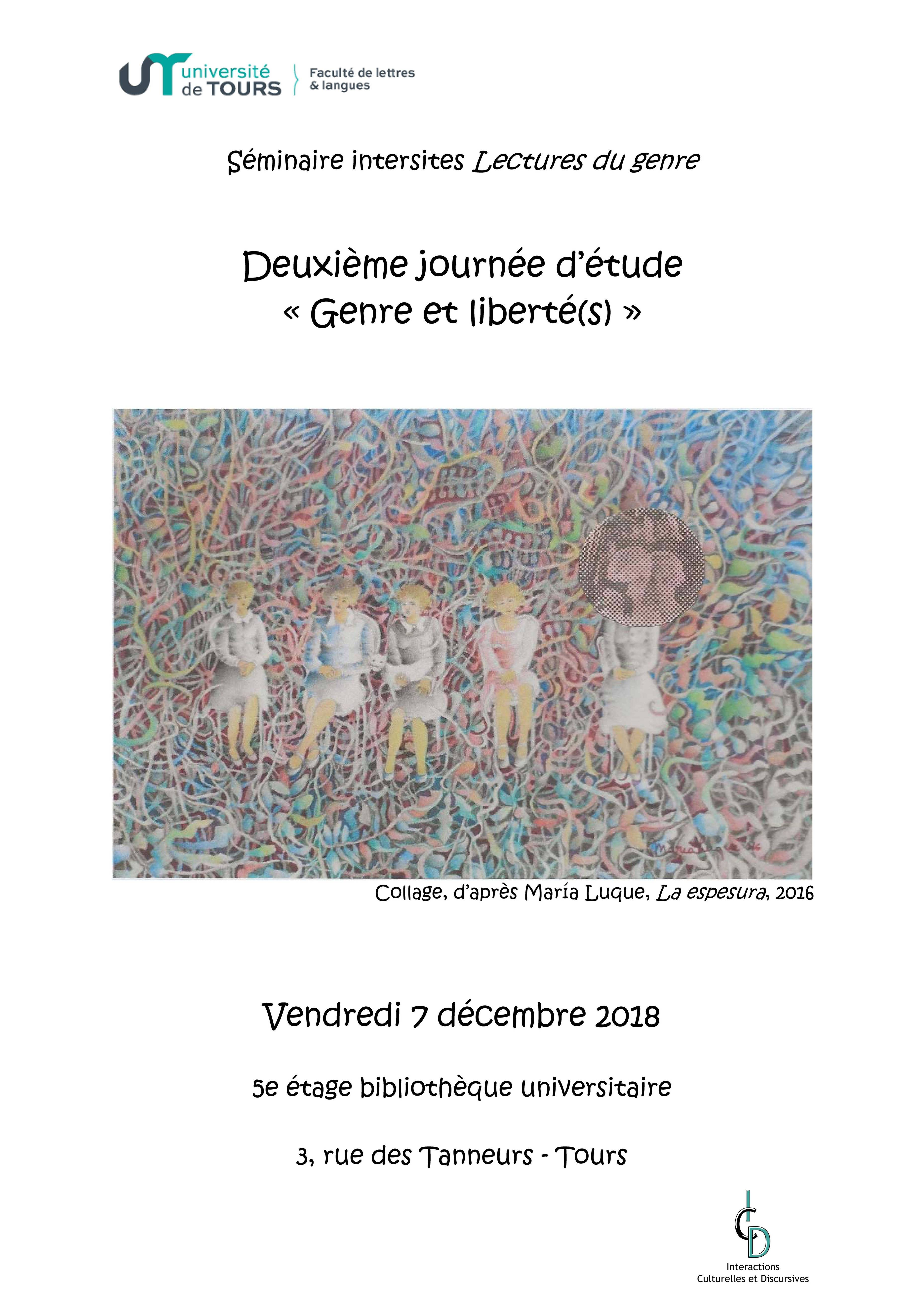 """Affiche de la journée détude """" Genres et liberté(s)"""" vendredi 7 décembre"""
