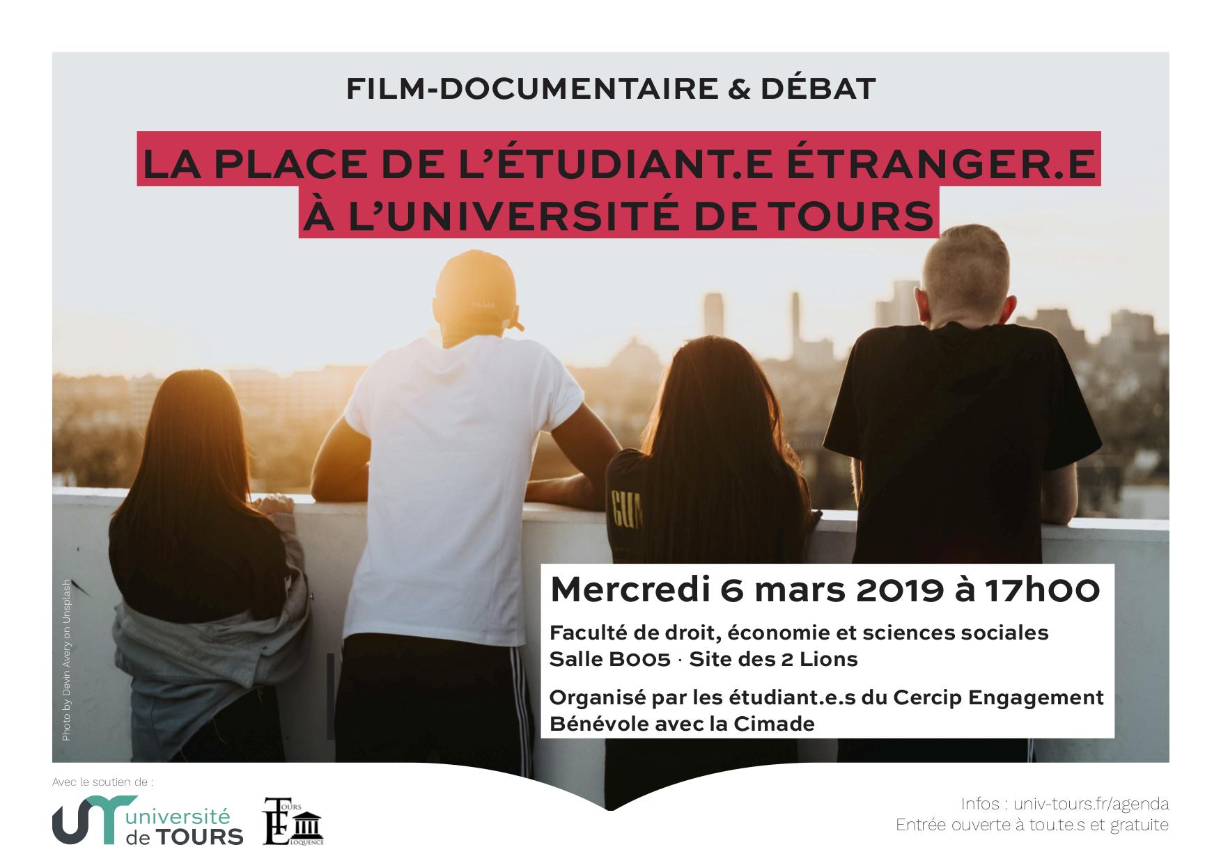 Affiche du film documentaire la place de l'étudiant étranger à l'université de Tours
