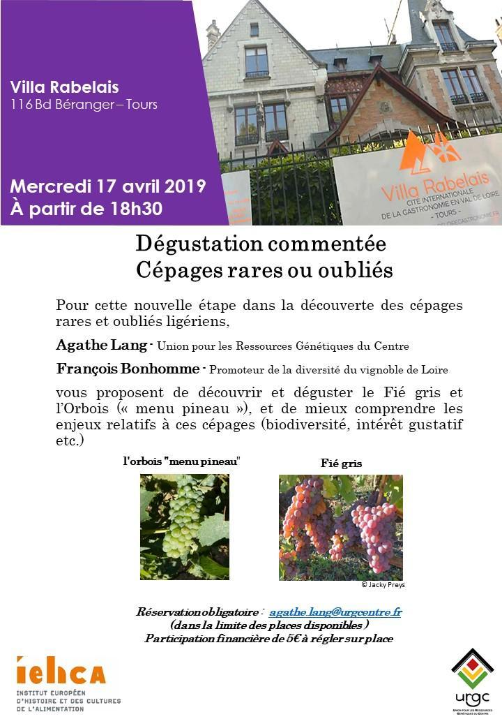 Affiche Villa Rabelais sur dégustation commentée cépages rares ou oubliés