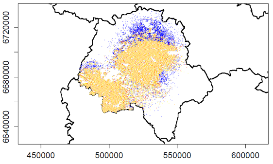 Termite presence in 2030 under normal (yellow dots) versus climate warming conditions (blue dots). The additional colonies resulting from a 1°C increase in temperature.