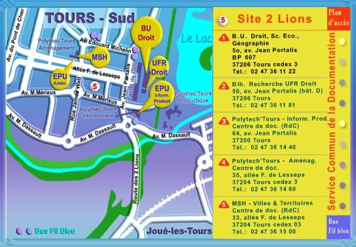 Plan d'accès au SCD, site 2 Lions