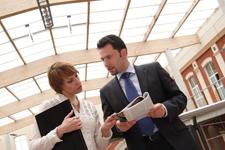 man and woman Business talk copyright endostock