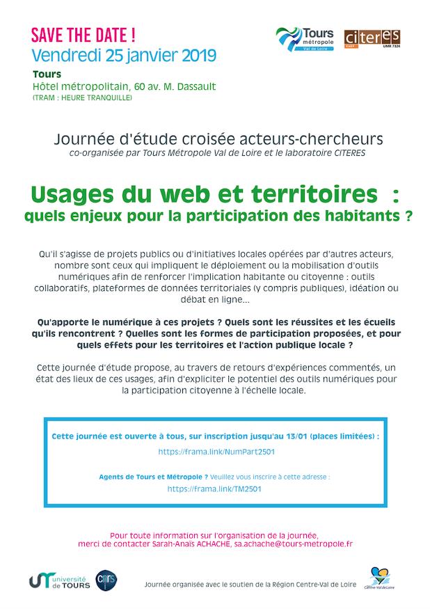 Journée d'étude croisée acteurs-chercheurs : Usages du web et territoires : quels enjeux pour la participation des habitants ?